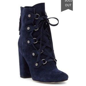 Splendid Navy Lace-Up Booties